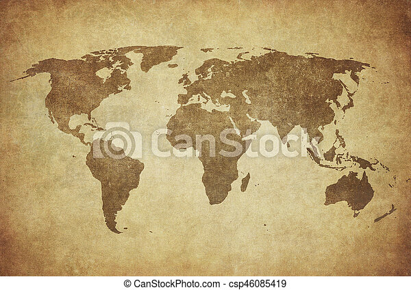 mapa, grunge, mundo - csp46085419