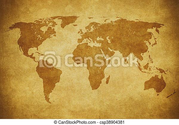 mapa, grunge, mundo - csp38904381