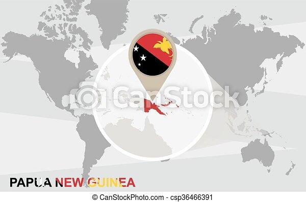 mapa, guiné, ampliado, papua, mundo novo - csp36466391