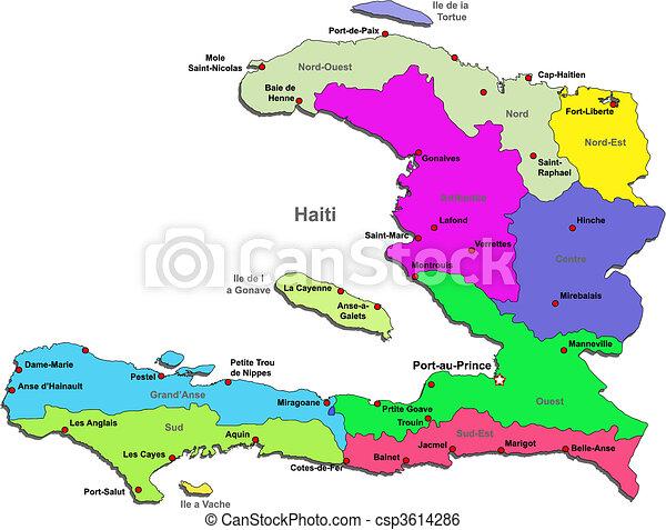 Mapa Haiti Mapa Kolor Na Okolice Haiti Bialy