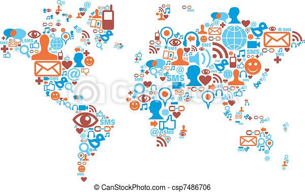 mapa, hecho, iconos, medios, forma, social, mundo - csp7486706