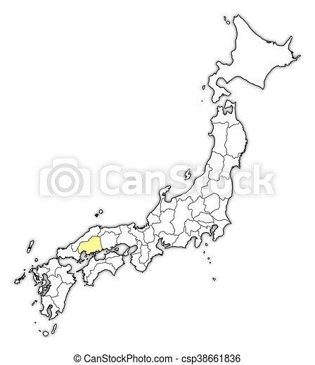 Mapa, -, hiroshima, japón. Mapa, provincias, destacado, yellow ...