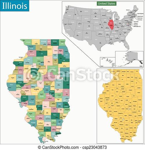 Mapa Illinois Mapa Ilustración Illinois Condado - Mapa de illinois