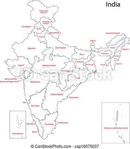 Mapa India - csp16075037
