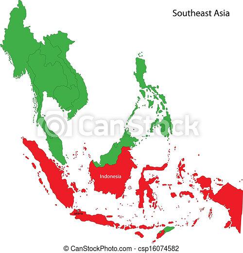 El mapa de Indonesia - csp16074582
