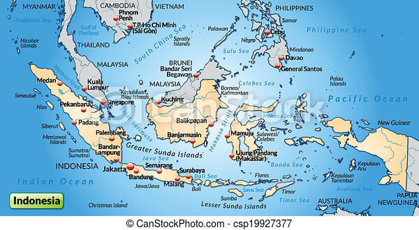 mapa, indonesia - csp19927377