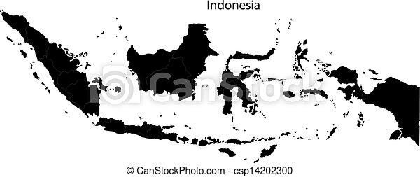 Mapa de indonesia negra - csp14202300