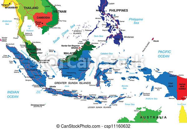 El mapa de Indonesia - csp11160632