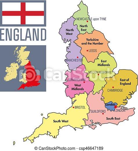 mapa do sul de inglaterra Mapa, inglaterra, capitais, político, regiões, seu. Detalhado  mapa do sul de inglaterra