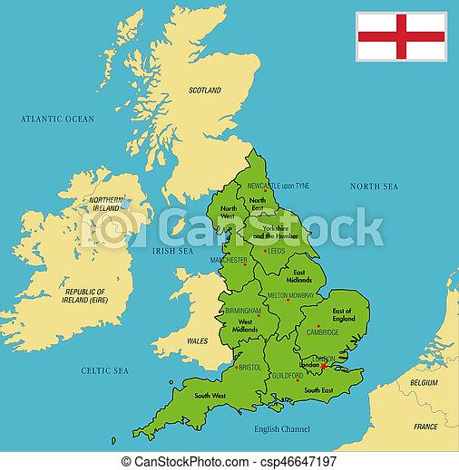 inglaterra no mapa Mapa, inglaterra, capitales, político, regiones, su. Detallado  inglaterra no mapa
