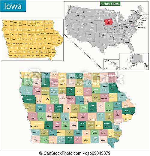 El mapa de Iowa - csp23043879