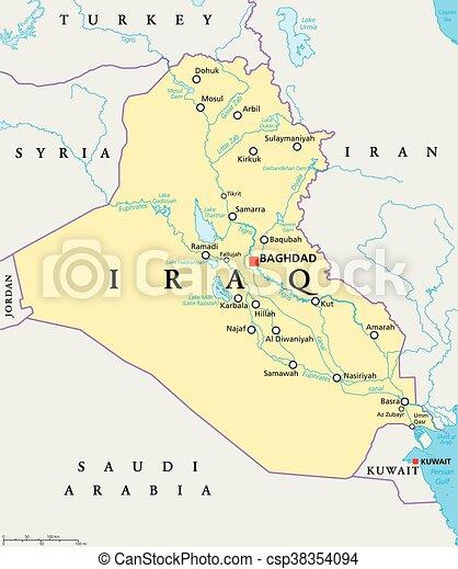 Tigris Y Eufrates Mapa.Mapa Politica De Irak Con Capital Bagdad Fronteras