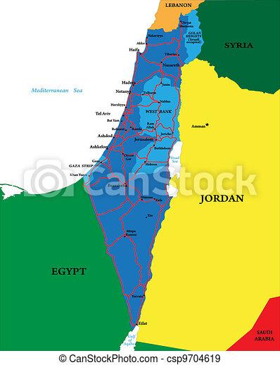 Mapa Izrael Polityczny Szczegolowy Mapa Izrael Miasta