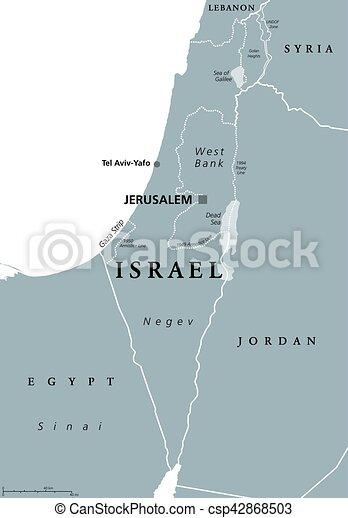 Mapa Izrael Polityczny Szary Mapa Izrael Wschod Neighbors