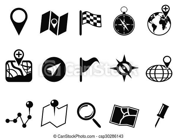 mapa, jogo, pretas, ícones - csp30286143