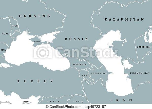 Mapa Kaspijski Okolica Polityczny Czarne Morze Europa Mapa