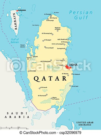 Mapa Katar Polityczny Rondle Mapa Katar Scaling