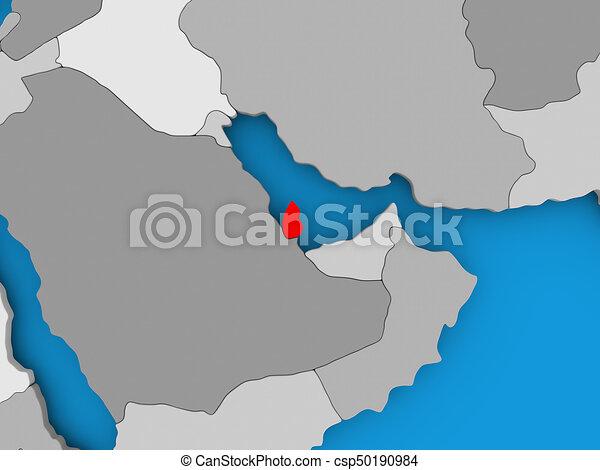 Mapa Katar Katar Illustration Map Polityczny Czerwony 3d