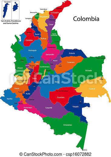 Mapa Kolumbie Mapa Hlavni Barevny Bystry Kraj Barvy