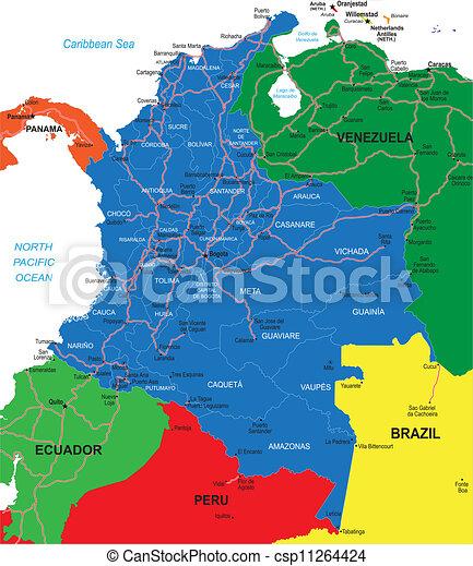Mapa Kolumbie Detailni Mapa Vektor Zeme Vysoce Hrabstvi