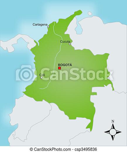 Mapa Kolumbie Mapa Neobvykly Showing Countries Stylizovany