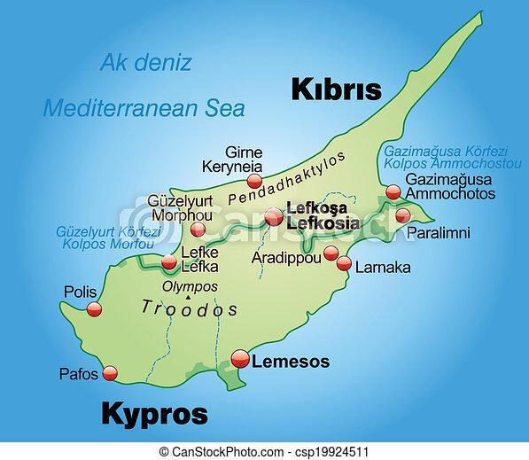 Mapa Kypr Mapa Prehled Nezkuseny Kypr Pastel