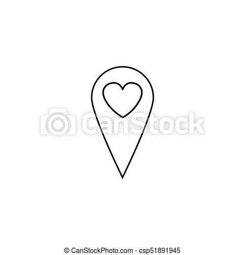 Mapa, línea, icono, indicador, corazón. Vector, corazón, valentines ...