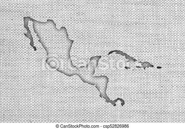 mapa, linho, antigas, américa, meio - csp52826986