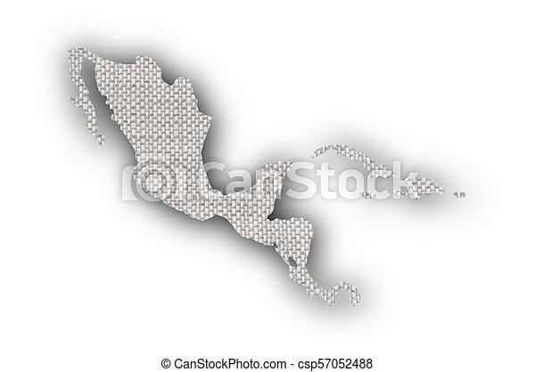 mapa, linho, antigas, américa, meio - csp57052488