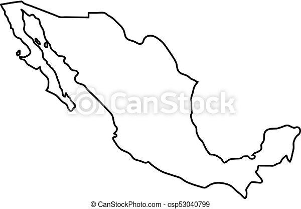 Mapa México Ilustración Vector Negro Curvas Contorno