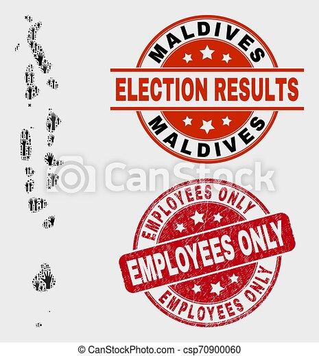 La composición del mapa de las maldivas de las encuestas y los empleados grunge sólo sellan sellos - csp70900060