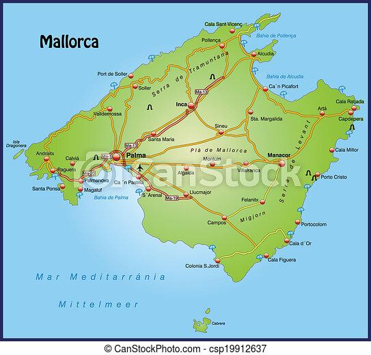 Mapa Carreteras De Mallorca.Mapa De Mallorca Con Autopistas