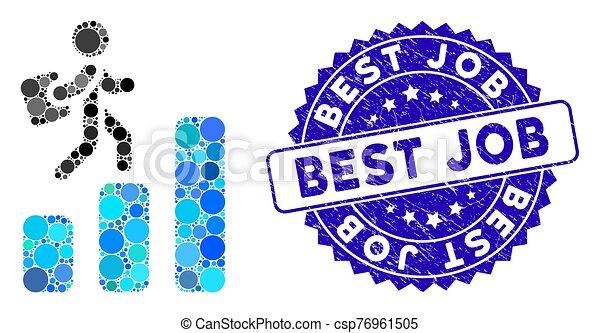 mapa, melhor, ícone, trabalho, carreira, selo, mosaico, arranhado - csp76961505