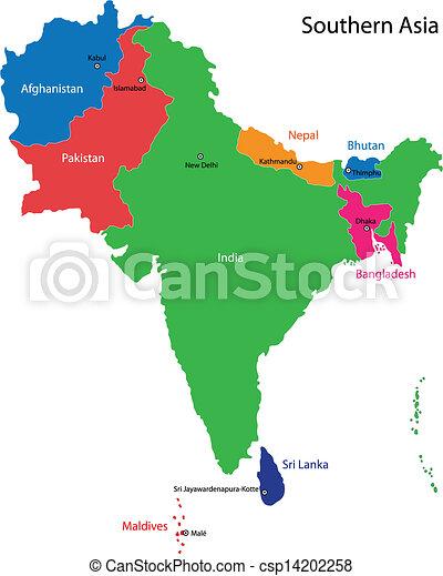 El mapa de Asia del Sur - csp14202258