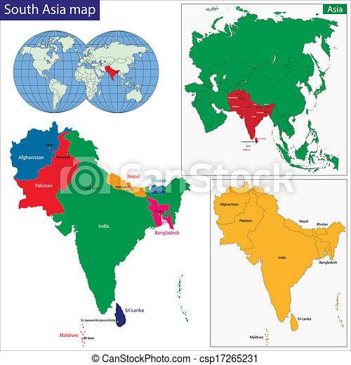 El mapa de Asia del Sur - csp17265231