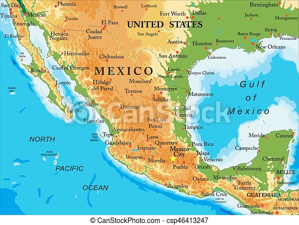 Mapa Mexicorelief Detallado Mapa Todos Grande México - Mapa de mexico