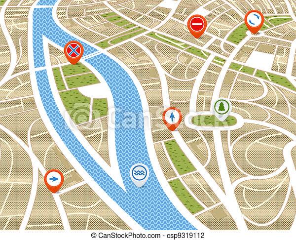 mapa, miasto, abstrakcyjny, symbolika, perspektywa, tło - csp9319112