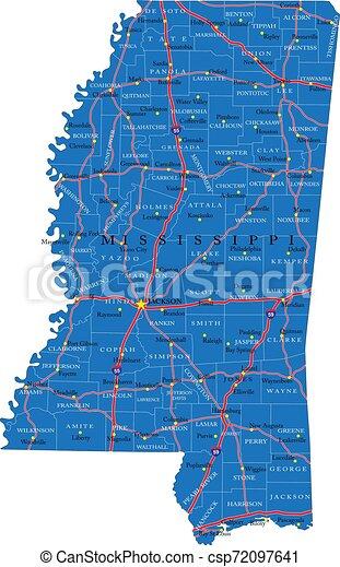 El mapa de carreteras de Mississippi - csp72097641