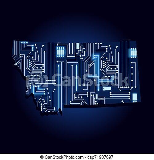 Mapa de Montana con circuito electrónico - csp71907697