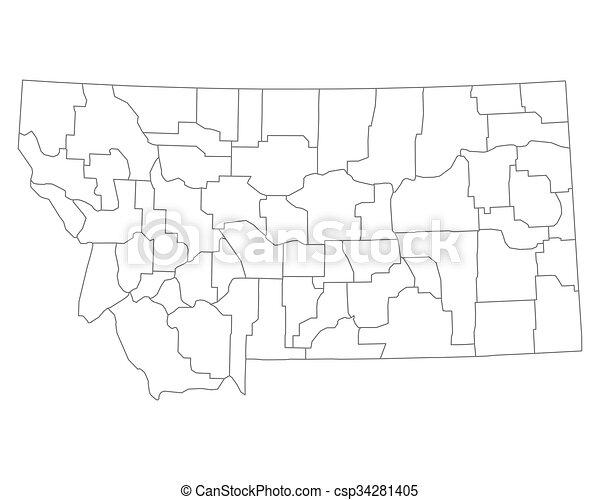 Mapa de Montana - csp34281405