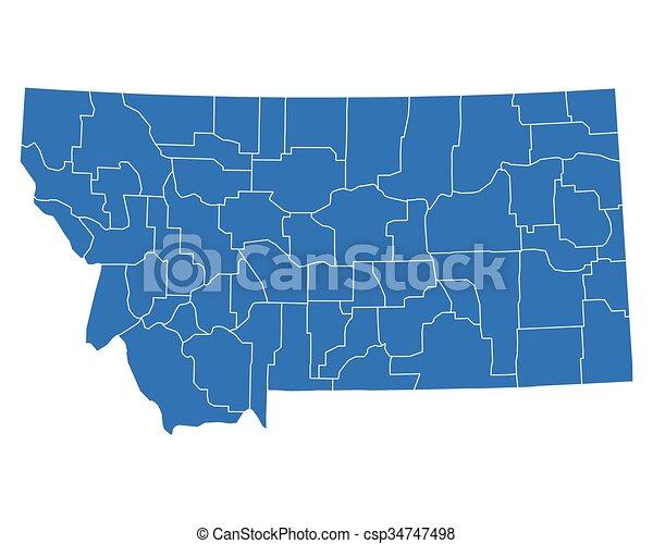 Mapa de Montana - csp34747498