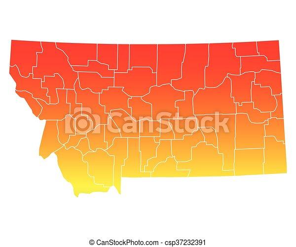 Mapa de Montana - csp37232391