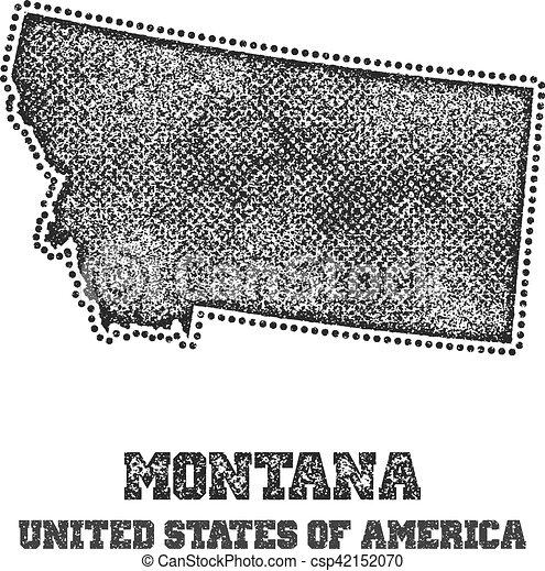 Etiqueta con mapa de Montana. - csp42152070