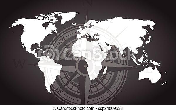 mapa mundial, fundo, compasso - csp24809533