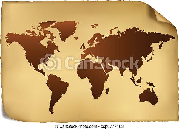 mapa mundial, pattern., vindima - csp6777463