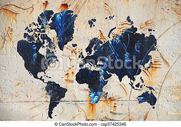 mapa, mundo - csp37425346
