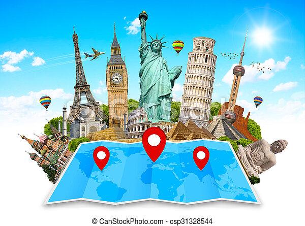 El monumento del mundo en un mapa - csp31328544