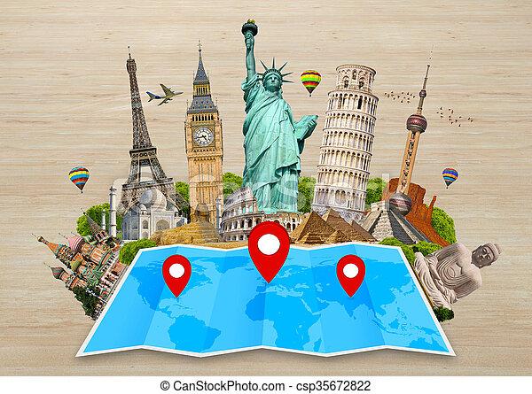 El monumento del mundo en un mapa - csp35672822