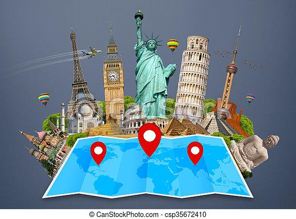 El monumento del mundo en un mapa - csp35672410