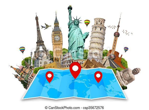 El monumento del mundo en un mapa - csp35672576